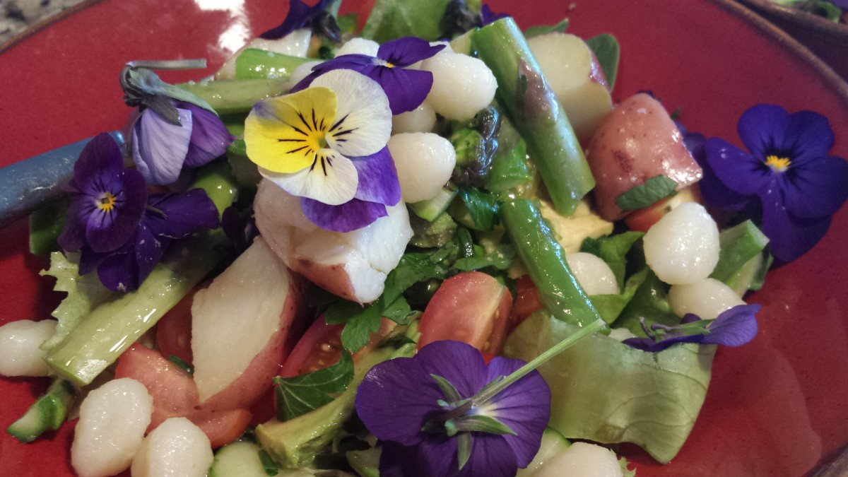 Farm market meal with flowers
