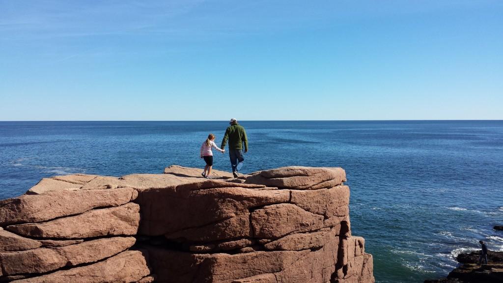 Scot and Luna Rock-Hopping at Thunder Hole.